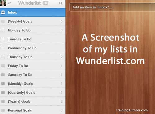 Wunderlist To Do List for Goals